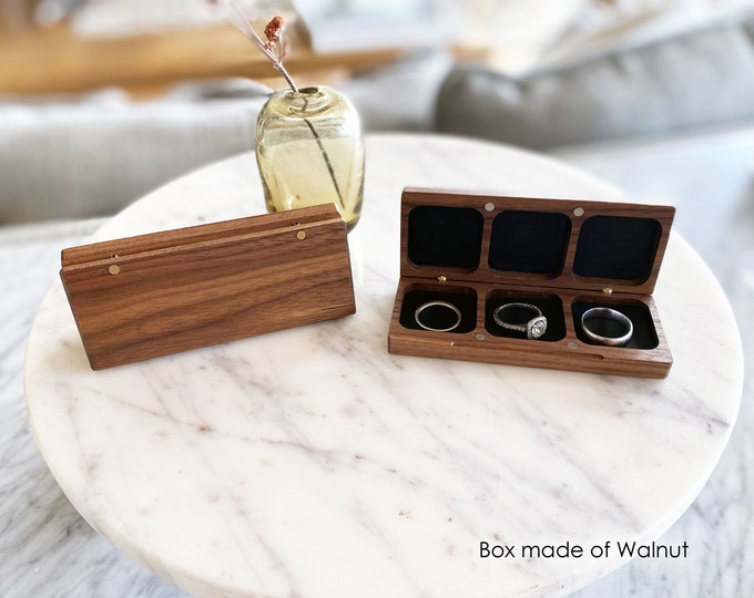 Triple Flat Wedding Ring Box for Ceremony / Ring Bearer Box / 3 Ring Holder - Personalize Engrave - Wanderweg Shop