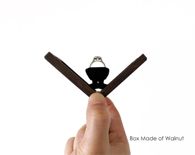X-Braced Rotating Engagement Ring Box / Slim Kinetic Ring Box / Wooden Ring Box / Proposal Ring Box - Personalize Engrave - Wanderweg Shop