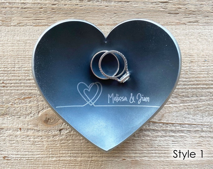 """Steel Heart Ring Dish / Ring Holder / Anniversary Gift / - Personalize Engrave - 4"""" Wide Heart - Wanderweg Shop"""