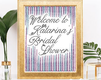 Printable Bridal Shower Welcome Sign - Customizable Text - Rustic Jewel Tone Purple, Pink, Teal Theme - Digital Download