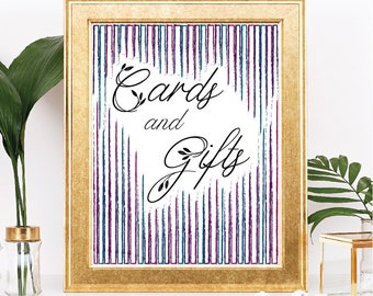 Printable Cards and Gifts Sign - Instant Download - Rustic Stripes - Jewel Tone Purple, Pink, Teal, Table Sign - Digital Download