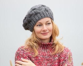 ee7ea20abaa59 Knit wool beret women french beret hat chunky winter beret gray women beret  large knit beret women big beret thick beret knit french hat