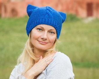 1566d1b769b Blue pussy hat knit pussyhat winter pussycat beanie women pussy beanie hat  cobalt blue beanie women aran hat cat ears beanie royal blue hat