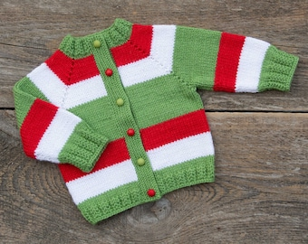 b3cbc2e55 Kids Christmas sweater Christmas baby outfit knit baby sweater baby wool sweater  newborn baby jacket knit wool jacket green red white stripe