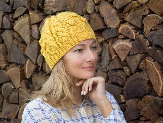 bdd3face4a8131 Yellow knit hat women yellow beanie hat women knit hat winter | Etsy
