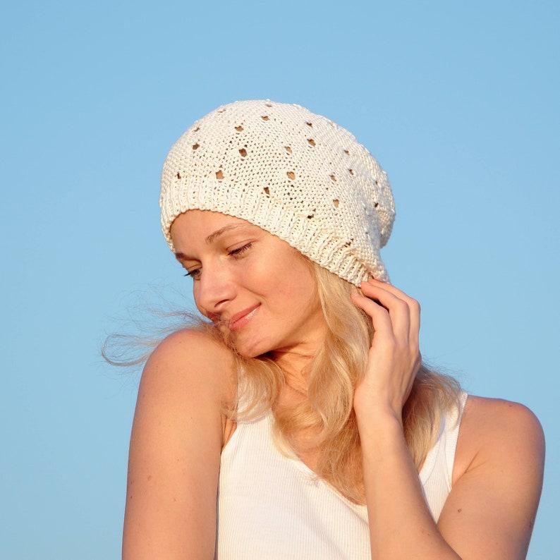 f2e4c651e2e9f8 Cotton beanie hat summer accessories knit cotton beanie women | Etsy