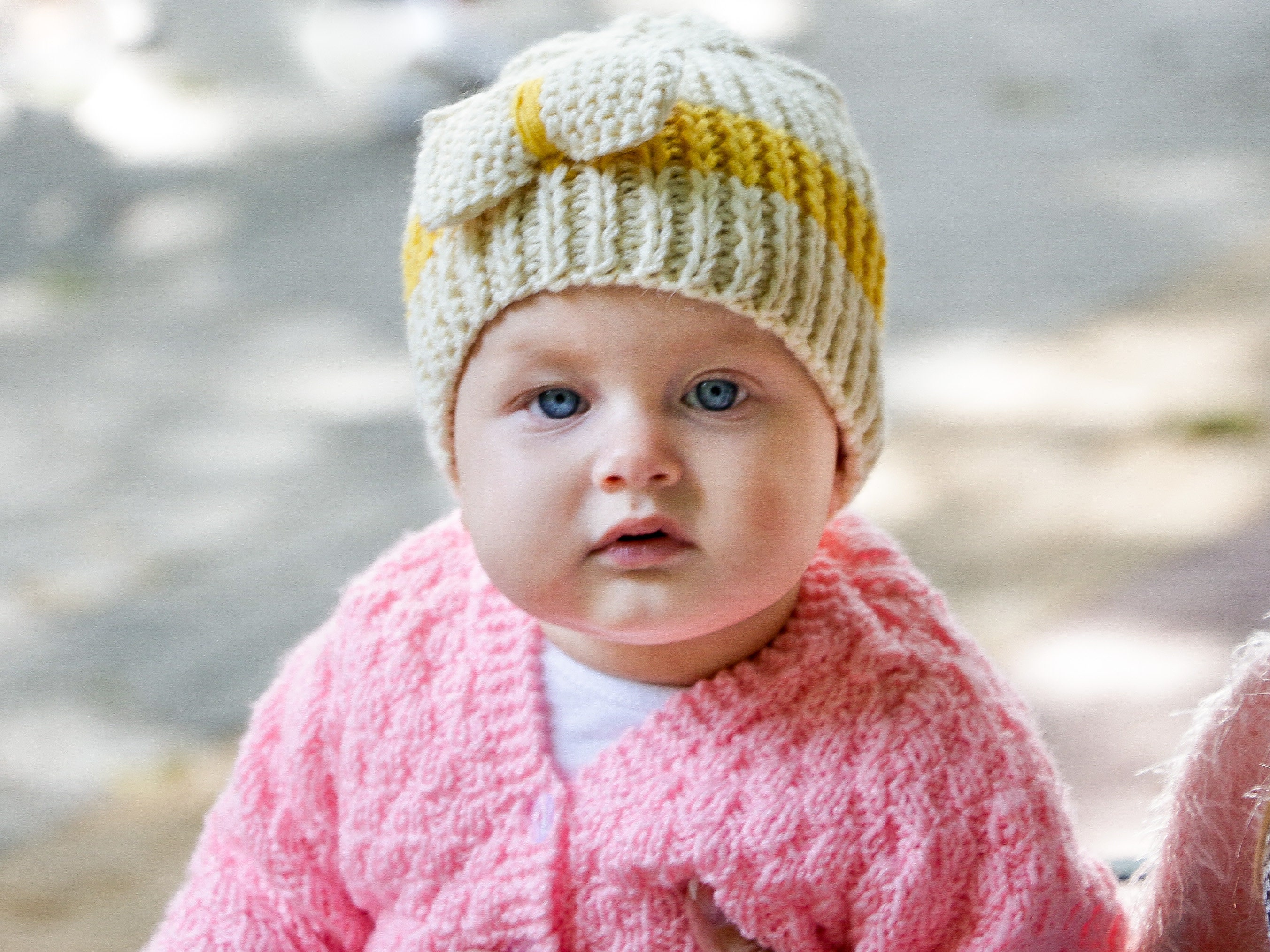 6e3313c08b4 Baby bow hat knit baby beanie with bow ivory baby beanie