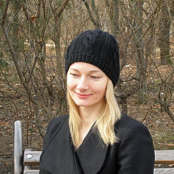 Black knit hat womens wool hat black wool hat women hand knit  81ce566de3