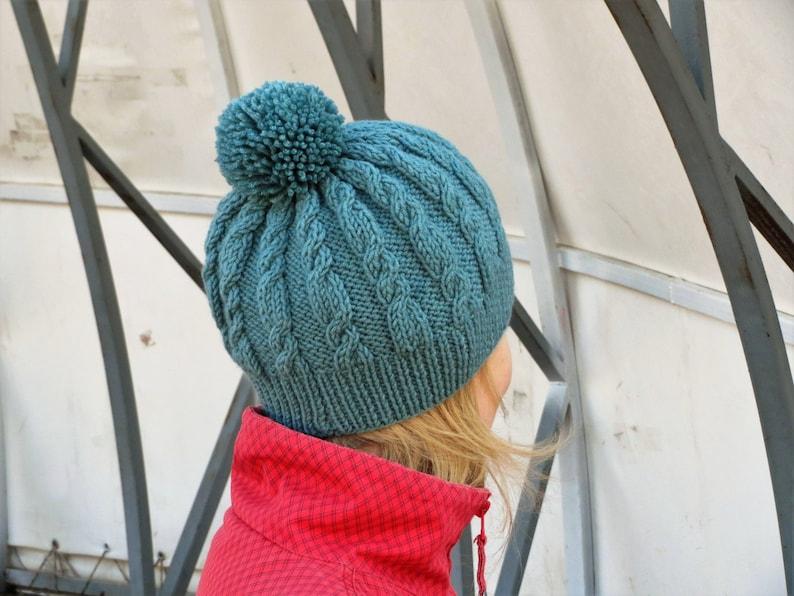 960d0593604 Blue green hat winter women hat seafoam green hat pompom hat