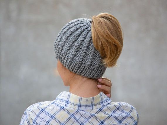 26cf3c4ca Knit ponytail beanie hat wool messy bun beanie gray pony tail hat winter  hat with hole women ponytail hat knit chunky beanie warm beanie hat