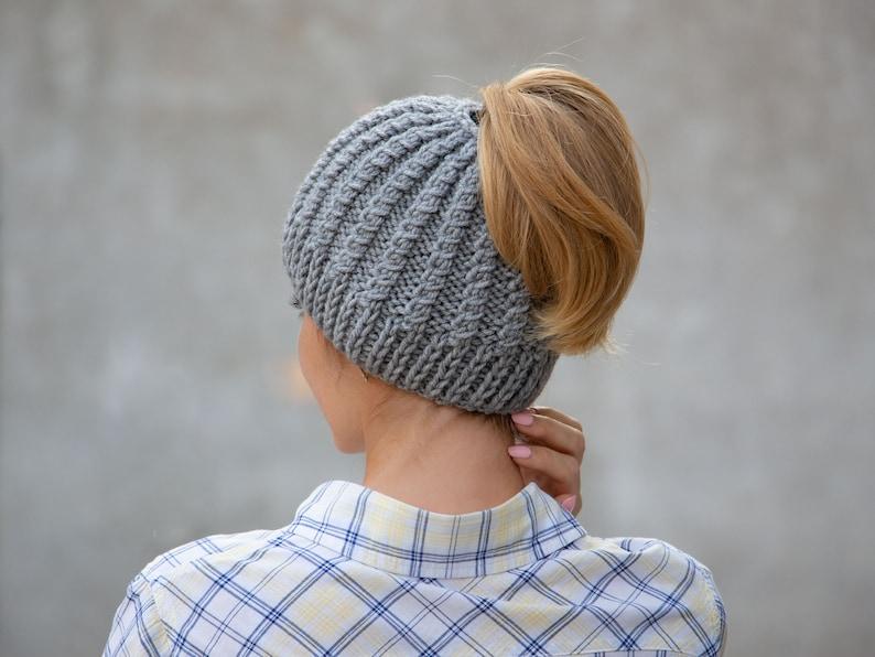 cdd7206d1f4 Knit ponytail beanie hat wool messy bun beanie gray pony tail