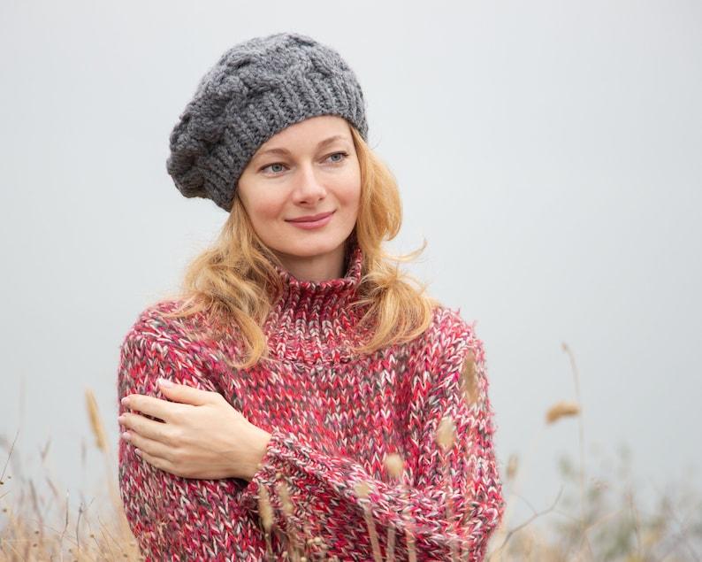 In maglia di lana berretto basco francese cappello inverno  56da50f5f38c