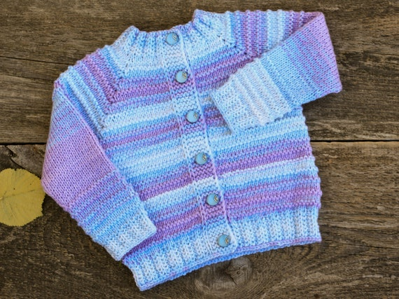 Hand Knitted Pink Multicolor Girls Sweater 6-9 Months