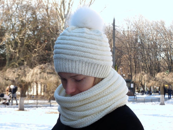 Real fur pom pom hat women white beanie knit wool hat white  7dacaeef166
