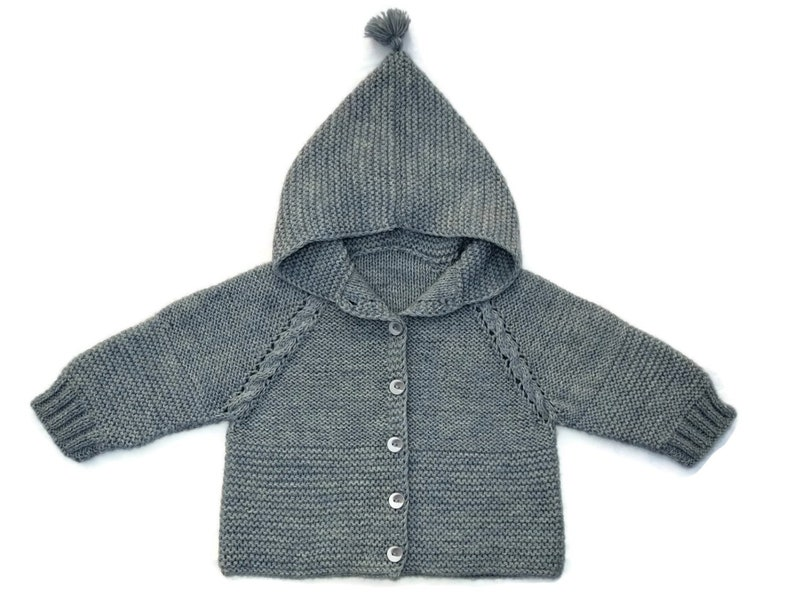 Baby hooded sweater knit baby sweater knit baby coat knit baby image 0