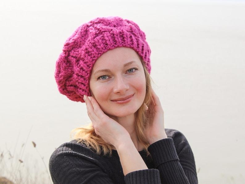 Women french beret women chunky beret hat hot pink beret women  f8399737926