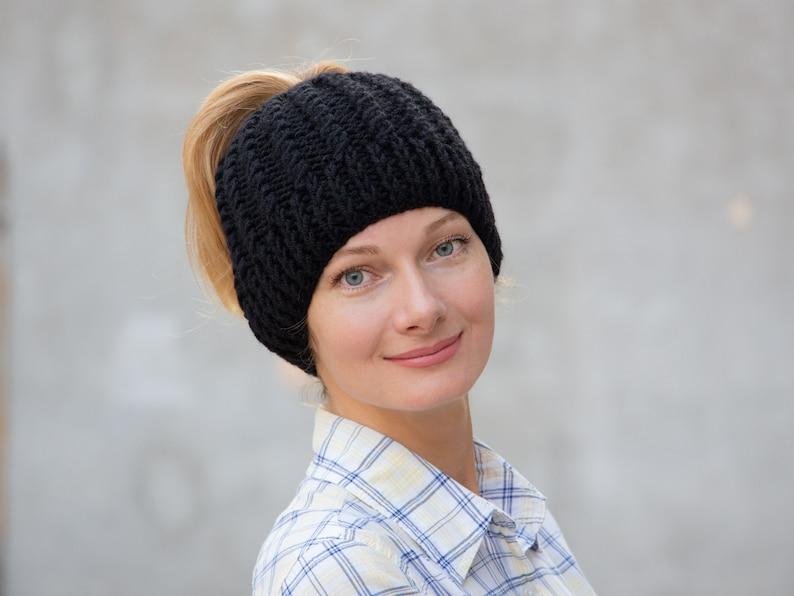 5f380399 Knit ponytail hat women ponytail beanie hat women messy ban | Etsy