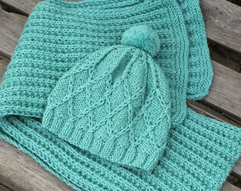 READY to SHIP Size 6-12 months Hand Knitted Set Mint Merino Hat for Baby and Scarf for Mom toddler pom pom hat infant girl boy