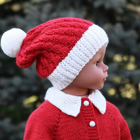 Red christmas hat baby beanie hat baby santa hat knit baby hat  c667aa54602