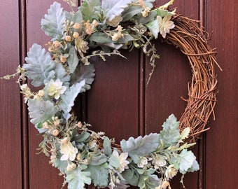 Front door wreath with green and white artificial flowers for spring and summer, for indoor or outdoor use