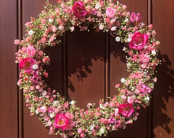 Full summer front door wreath, artificial gypsophila wreath, summer home decor, pink florals, yellow home decor white flowers, full wreath.