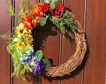 Rainbow wreath, multicoloured front door wreath, indoor or outdoor decor, lgbtq pride wreath, bright interior decoration, artificial flowers