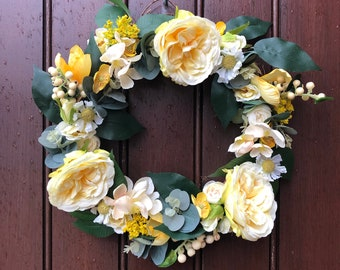 Full yellow artificial floral front door wreath for spring and summer, suitable for indoor or outdoor use