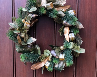 Green and gold artificial pine Christmas wreath