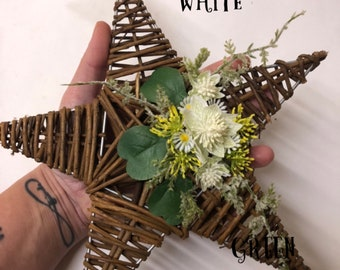 Hanging floral star decorations with artificial flowers