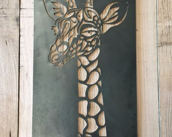 Giraffe steel metal wall garden art home decor plasma cut