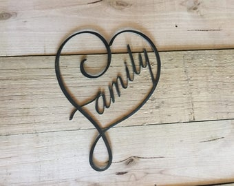 Family Steel Wall Garden Art Sign Plasma Cut