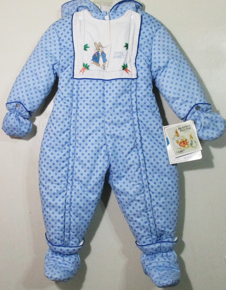 da227227b2 Vintage 89 Quiltex Beatrix Potter Peter Rabbit Hand Sewn Graphic Infant/  Toddler Boy/ Girl/ Unisex Snow Suit Full Body New w/ Tags- 24 Month