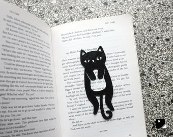 Cat Bookmark - 3D Printed in Black/Silver/Gold Plastic