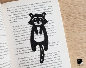 Raccoon Bookmark - 3D Printed in Black/Silver/Gold Plastic