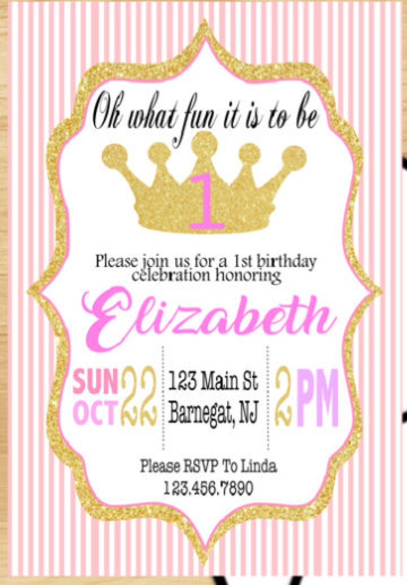 Printable 1st Birthday Invitations Pink And Gold Invitation