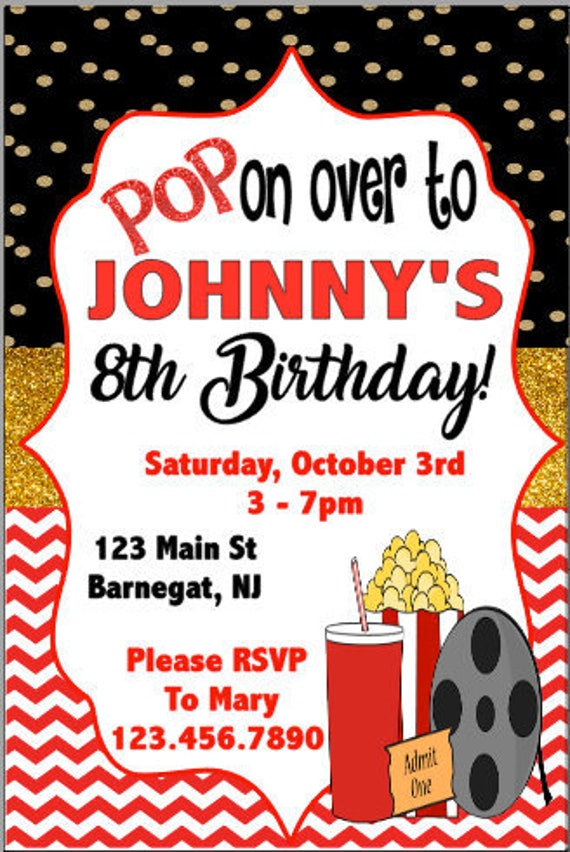 Printable Movie Birthday Invitation