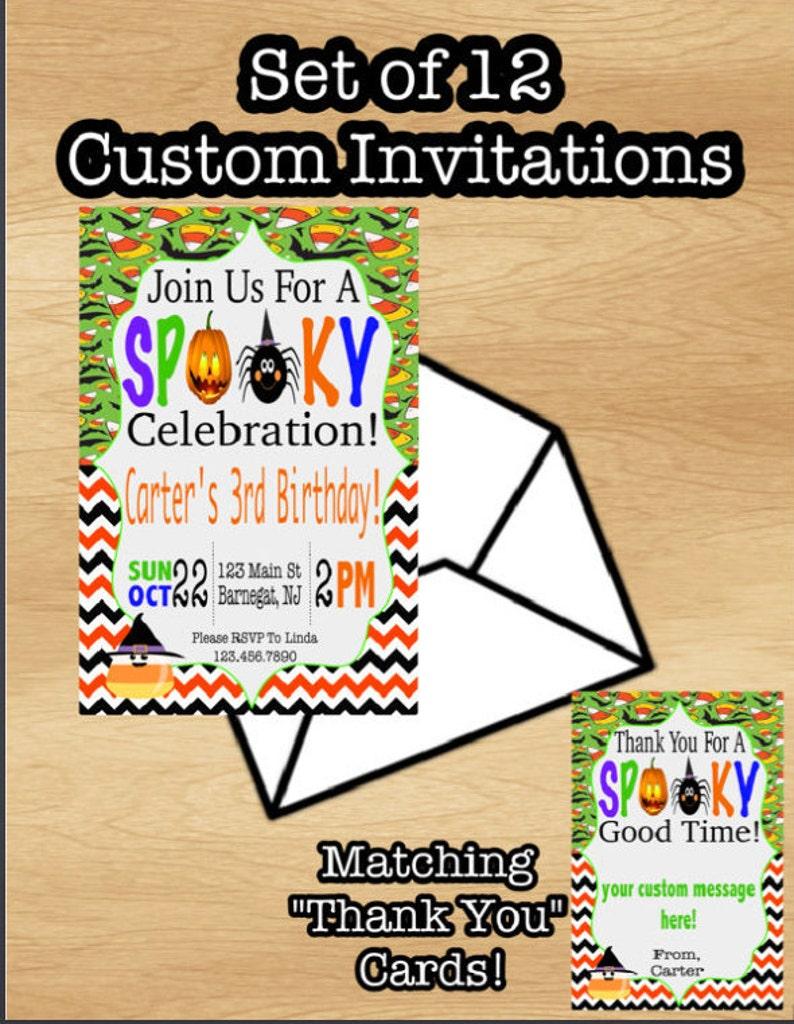 Set Of 12 Halloween Party Invitations Birthday