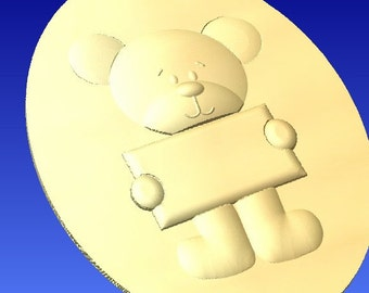 Bear holding sign cnc stl relief pattern cnc router pattern only.  For cnc router projects and 3d clipart