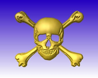 Skull and Bones Vector Relief Model for cnc routers or sign carving pattern in stl file format.