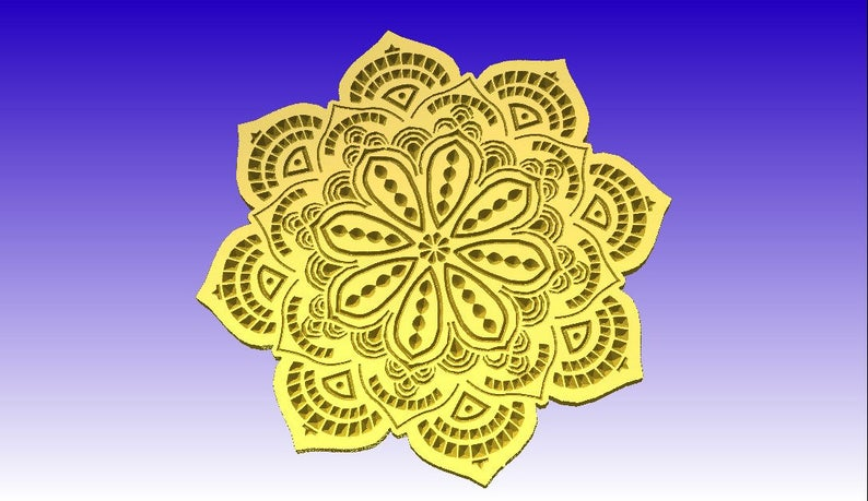 Vcarve Flower in dxf format for cnc routers not a 3d model