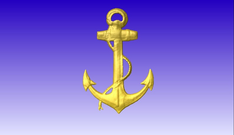 Anchor 3d vector art for cnc projects or carving patterns in stl file format