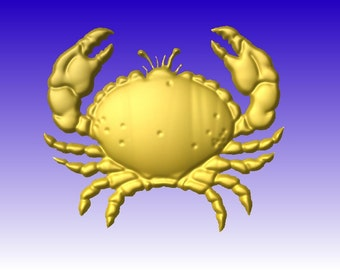 Crab Vector Art Relief Model for cnc router projects an 3D sign clipart in stl file format