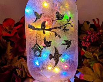 Bird LED Mason Jar