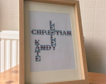 Family Names Cross Stitch (Completed)