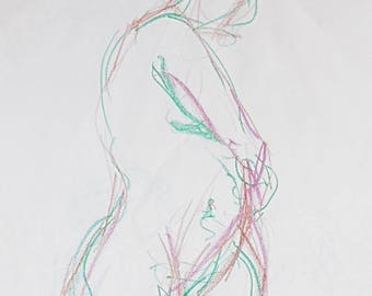 Modern sketch drawing in the studio, original from pastel chalk, nude in 2 colors, A2, female body drawing