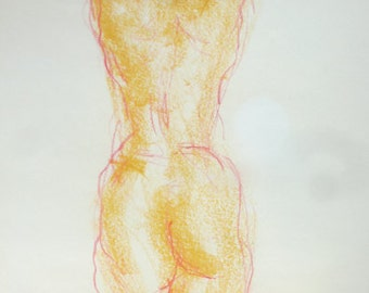 Nude drawing from pastel chalk, original body drawing, nude sketch from behind