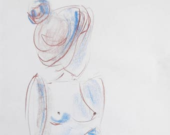 Original pastel drawing, life drawing, on white Paper A3, signed, nude, female nude woman
