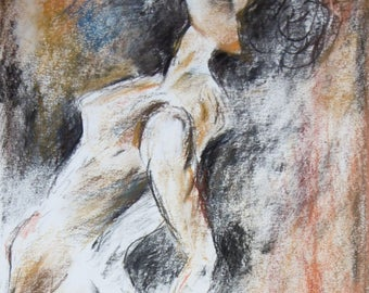Original drawing of pastel chalk, nude woman, nude drawing, sketch from E. Delacroix