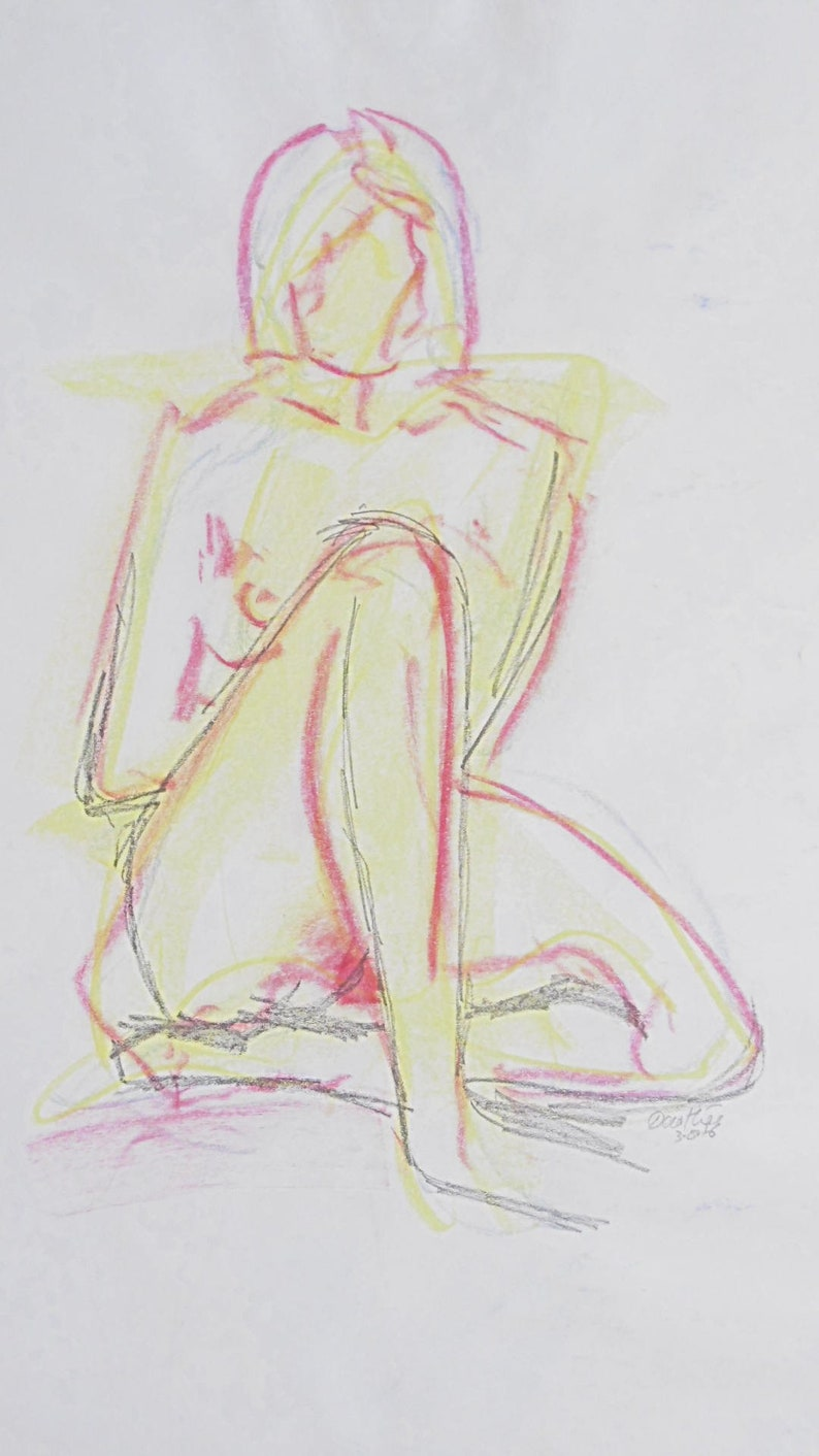 signed white paper A2 Original nude drawing sketch of pastel chalk and graphite nude nude in studio