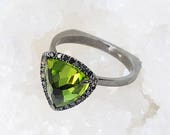 Peridot engagement ring, Trillion ring, Black diamond engagement ring, Diamond halo ring, Black gold ring, Black Diamond Gold Ring, Unique